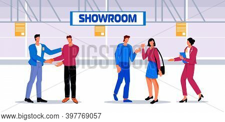Business People In Showroom Or Expo Centre Flat Vector Illustration.