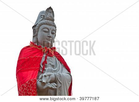Kuan Yin of Buddha china mercy made of stone carved poster