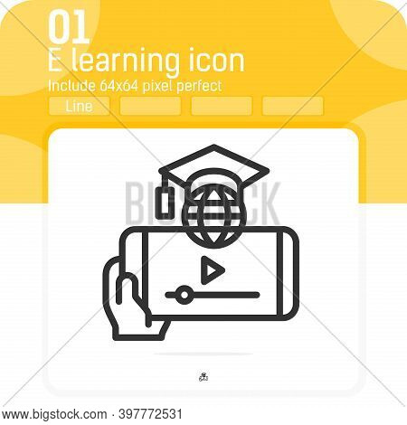 E Learning On Smartphone Icon With Outline Style Isolated On White Background. Vector Illustration E