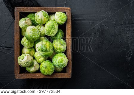 Brussels Sprouts, On Black Textured Background, Top View
