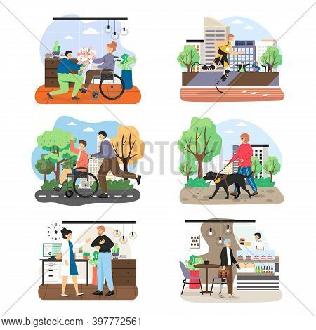 People With Disabilities, Visual Impairment Cartoon Character Set, Flat Vector Illustration. Disable