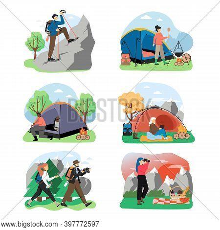 Hiking Scene Set, Flat Vector Isolated Illustration. Trekking, Mountain Tourism, Travel Adventure, E
