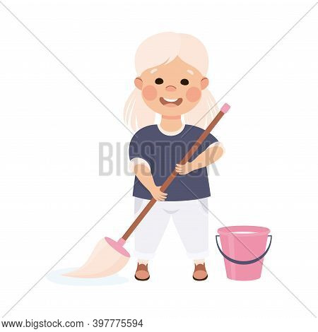 Cute Girl Mopping The Floor With Mop, Kid Helping Her Parents With Housework Or Doing Household Chor
