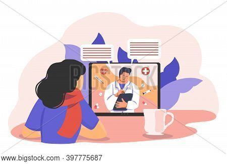 Doctor Consulting Online About Treatment In Video Conference By Internet. Distant Medicine Concept V