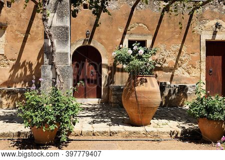 Crete, August 11: Architecture Of Arkadi Monastery On August 11, 2020 At Crete Island, Greece. The A
