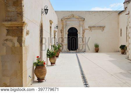 Crete, August 09: Yard Of Gonia Odigitria Monastery On August 09, 2020 At Crete Island, Greece. Goni