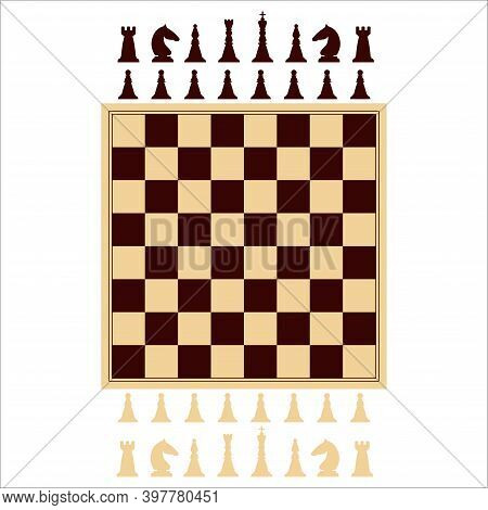 Chessboard And Set Of Chess Pieces. Board Game. King, Queen, Bishop, Knight, Castle, Pawn.