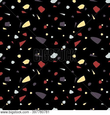 Dark Terrazzo Style Vector Seamless Pattern Background.