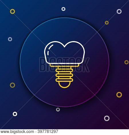 Line Dental Implant Icon Isolated On Blue Background. Colorful Outline Concept. Vector