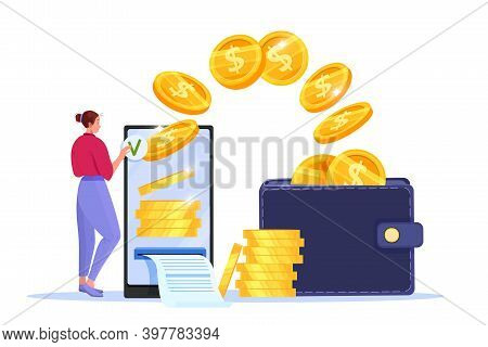 Secure Mobile Payment, Money Transfer Or Online Finance Concept With Smartphone, Woman, Flying Coins