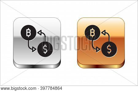 Black Cryptocurrency Exchange Icon Isolated On White Background. Bitcoin To Dollar Exchange Icon. Cr