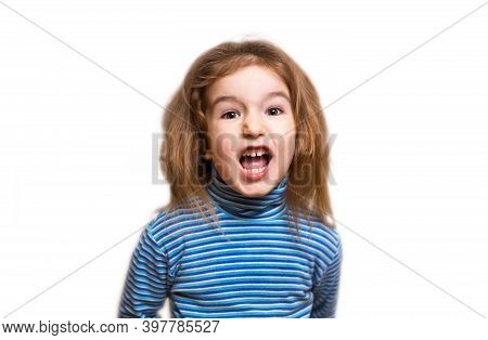 A Small Caucasian Girl In A Blue Striped Turtleneck Opened Her Mouth In Indignation And Twisted Her