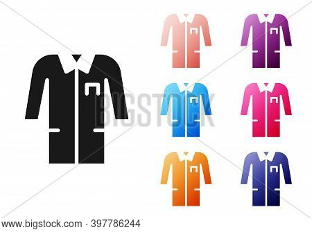 Black Laboratory Uniform Icon Isolated On White Background. Gown For Pharmaceutical Research Workers