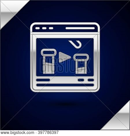 Silver Chemical Experiment Online Icon Isolated On Dark Blue Background. Scientific Experiment In Th