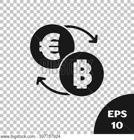 Black Cryptocurrency Exchange Icon Isolated On Transparent Background. Bitcoin To Euro Exchange Icon