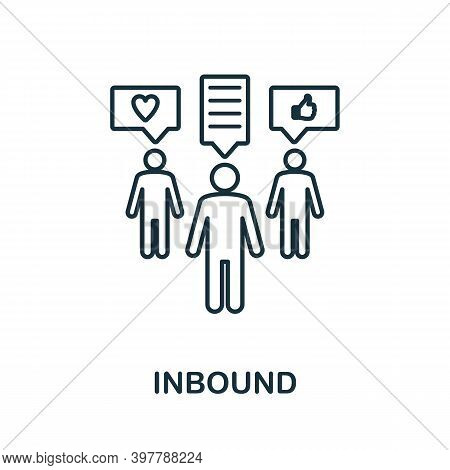 Inbound Icon. Line Style Element From Community Management Collection. Thin Inbound Icon For Templat