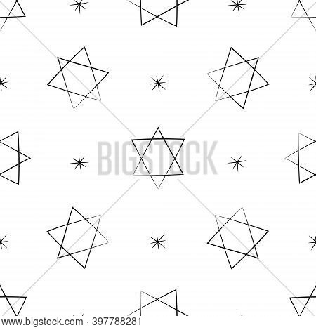 Judaic Symbol Star Of David Seamless Pattern. Israeli Religion Judaism. Hand Drawn Black Silhouette