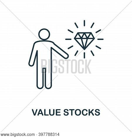 Value Stocks Icon. Line Style Element From Community Management Collection. Thin Value Stocks Icon F
