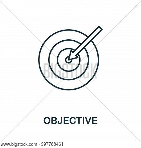 Objective Icon. Line Style Element From Community Management Collection. Thin Objective Icon For Tem