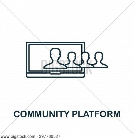 Community Platform Icon. Line Style Element From Community Management Collection. Thin Community Pla