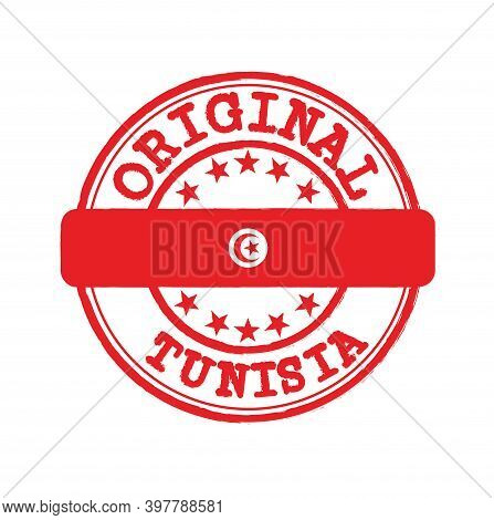 Vector Stamp Of Original Logo With Text Tunisia And Tying In The Middle With Nation Flag. Grunge Rub