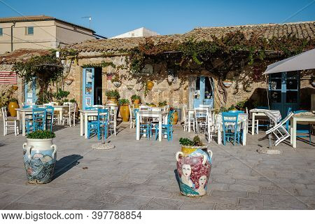 Syracuse Sicily October 2020, The Picturesque Village Of Marzamemi, In The Province Of Syracuse, Sic