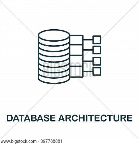 Database Architecture Icon. Line Style Element From Data Organization Collection. Thin Database Arch