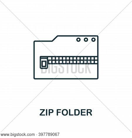 Zip Folder Icon. Line Style Element From Data Organization Collection. Thin Zip Folder Icon For Temp