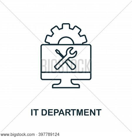 It Department Icon. Line Style Element From Data Organization Collection. Thin It Department Icon Fo
