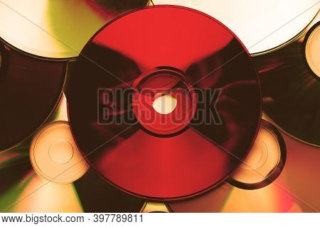 Сd Disc Background. Compact Disk Collection Decoration.