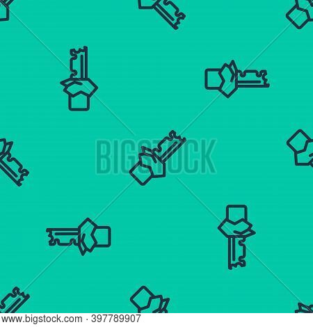 Blue Line Bitten Chocolate Bar Icon Isolated Seamless Pattern On Green Background. Vector