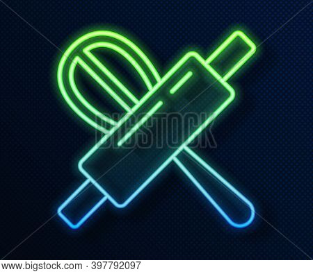 Glowing Neon Line Kitchen Whisk And Rolling Pin Icon Isolated On Blue Background. Cooking Utensil, E