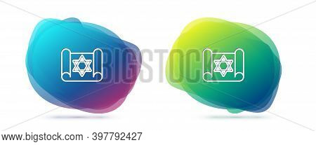 Set Line Torah Scroll Icon Isolated On White Background. Jewish Torah In Expanded Form. Star Of Davi