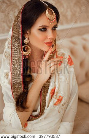Portrait Of Beautiful Indian Girl In Traditional Saree In Luxury Interior. Young Hindu Woman Model W