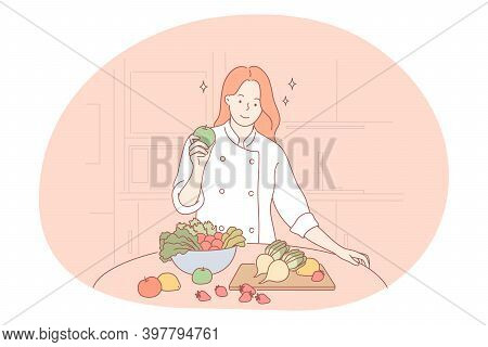 Nutritionist, Doctor, Profession In Healthy Lifestyle Concept. Young Smiling Woman Professional Nutr