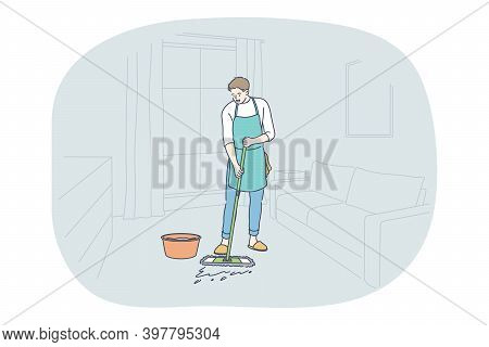 Housework, Home Assistant, Occupation Concept. Young Man Professional Cleaner In Apron Washing Floor