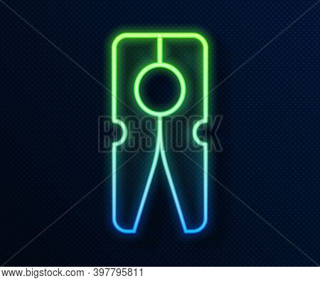 Glowing Neon Line Old Wood Clothes Pin Icon Isolated On Blue Background. Clothes Peg. Vector