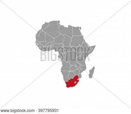 South Africa On Africa Map Vector. Vector Illustration.