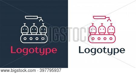 Logotype Line Robotic Arm Assemble Line Mechanic Manufacturing Factory Robot Operator Production Ico
