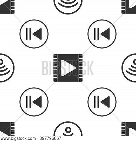 Set Wi-fi Wireless Internet Network, Play Video And Rewind On Seamless Pattern. Vector