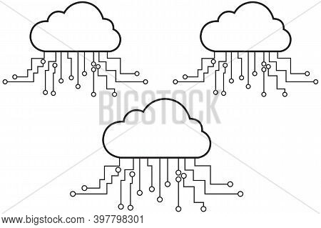 Cloud Computing, Cloud Computing Technology Internet Concept, Cloud Icon With Circuit Board Isolated
