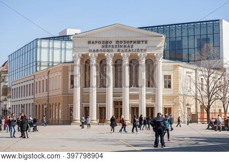 Subotica, Serbia - March 29, 2019: Facade Of The National Theater Of Subotica, With Mention National