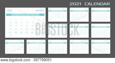 2021 Calendar Planner Diary Template In A Minimalist Style. 12 Months 2021 Pages. Week Starts On Sun