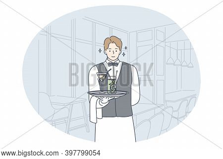 Excellent Service, Waiter Profession, Occupation Concept. Young Smiling Man Waiter Cartoon Character