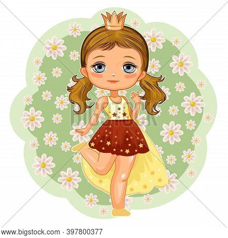 A Cute Little Girl Dressed As A Princess. Cheerful Funny Child In A Good Mood. The Isolated Object O