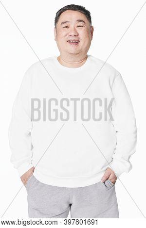 Size inclusive men's fashion white sweatshirt studio shot
