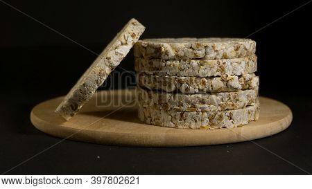Grain Crispbreads Crispy Rice And Diet Bread. Stack Of Puffed Whole Grain Crispbread. Rice Cake Puff