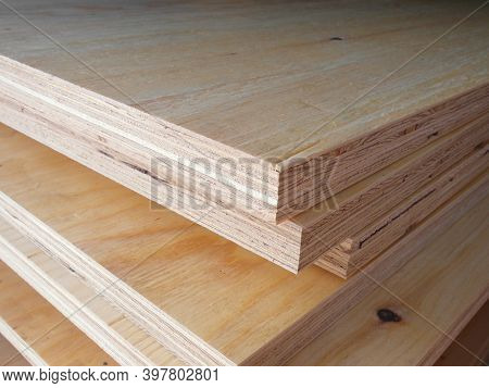 Piles Of Pine Plywood Lie On Top Of Each Other