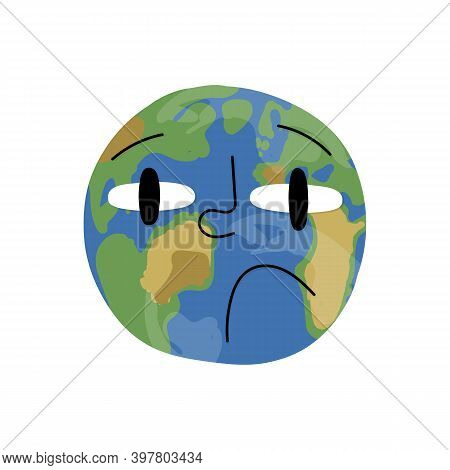 Smoked Planet Earth Character With Sad Face. Ecological Catastrophe, Global Warming, Environment Pol