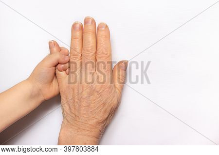 Small Childrens Hands In The Hands Of An Old Grandmother. Old Age And Childhood, Communication Of Gr